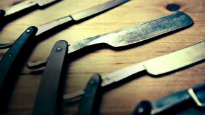 Sharp blades used by our skilled barbers and hairdressers at Brusko Barbers